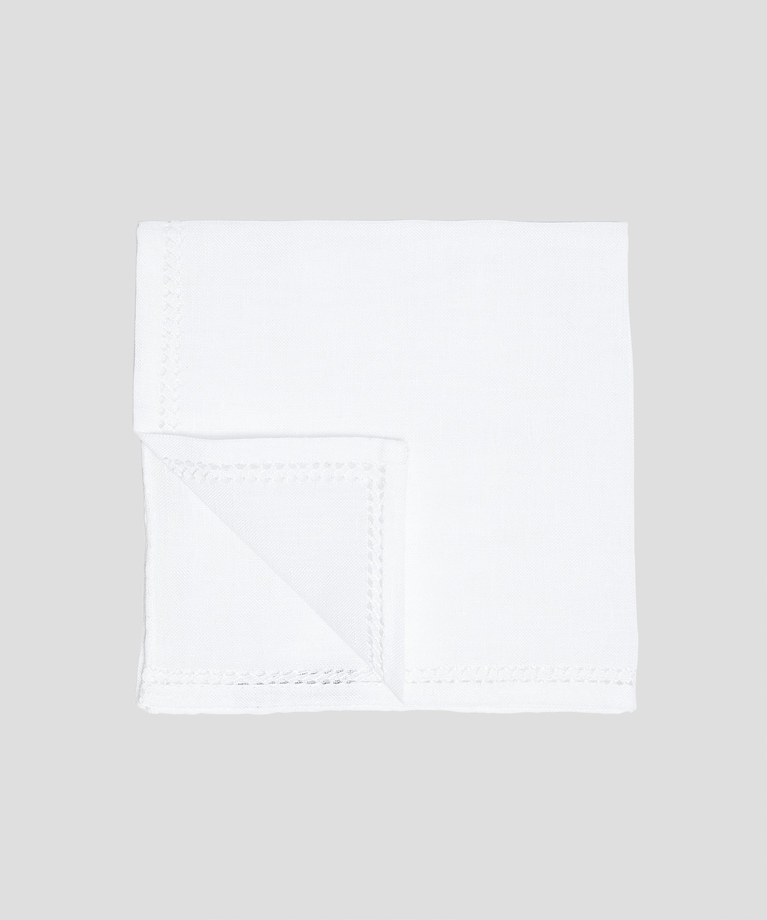 Mungai Punto Quadro Pocket Square in White