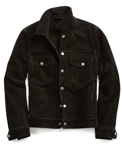 Suede Snap Dylan Jacket in Black
