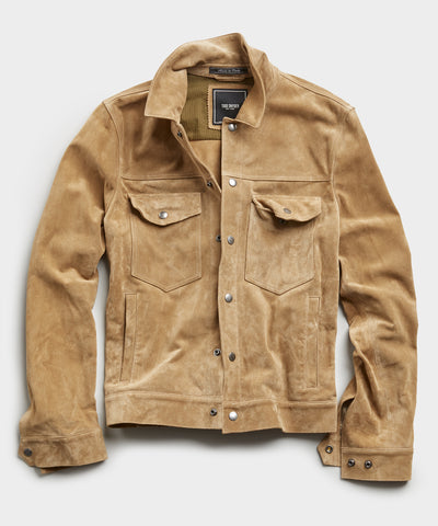 Italian Suede Snap Dylan Jacket in Saddle Tan
