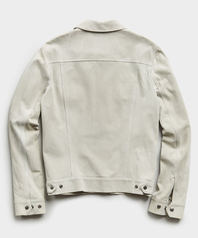 Italian Suede Snap Dylan Jacket in Stone