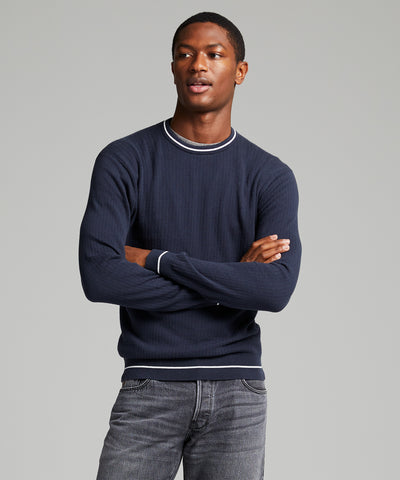 Textured Tipped Sweater in Navy