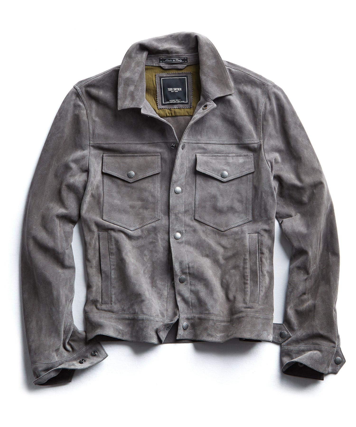 Italian Suede Snap Front Dylan Jacket in Grey