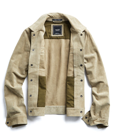 Italian Suede Snap Front Dylan Jacket in Desert Sand