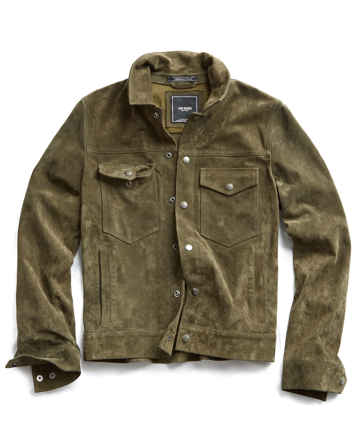 Italian Suede Snap Front Dylan Jacket in Sage