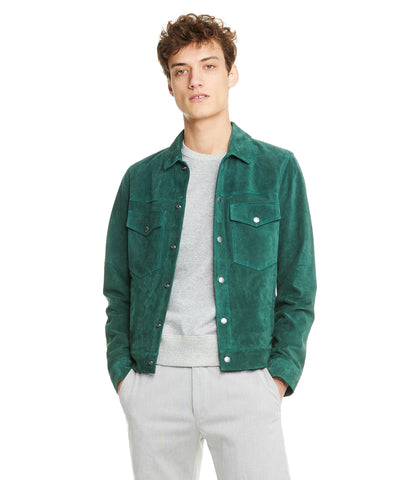 Italian Suede Snap Front Dylan Jacket in Green