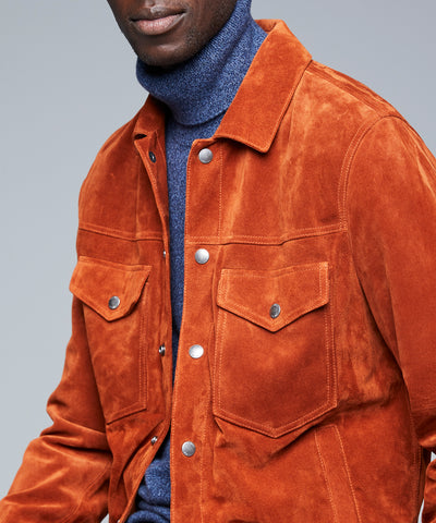 Italian Suede Snap Dylan Jacket in Rust