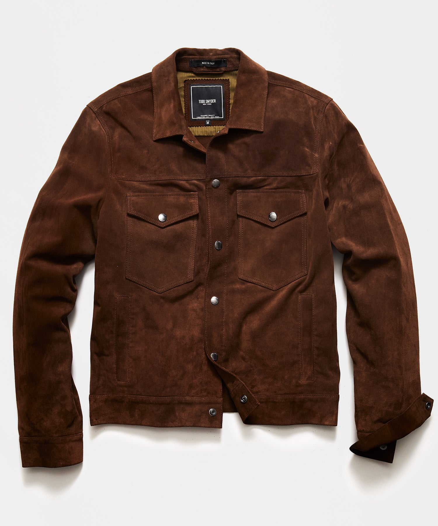 Italian Suede Snap Dylan Jacket in Dark Brown