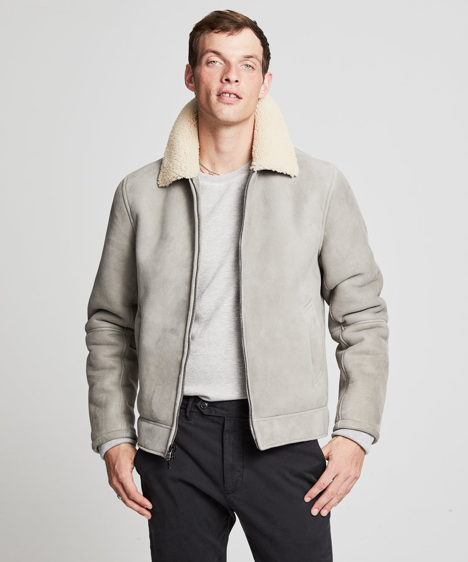 Shearling Aviator Jacket in Grey