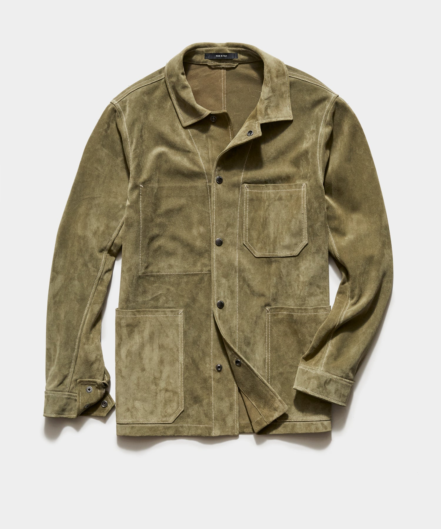 Italian Suede Chore Coat in Forest Green
