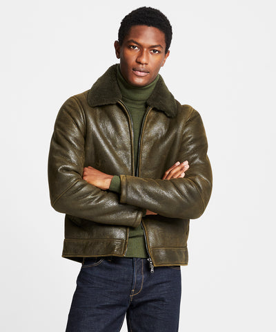 Shearling Aviator in Olive