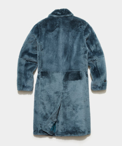 Italian Shearling Balmacaan Coat in Blue