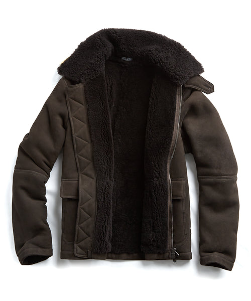 Shearling Flight Jacket in Brown