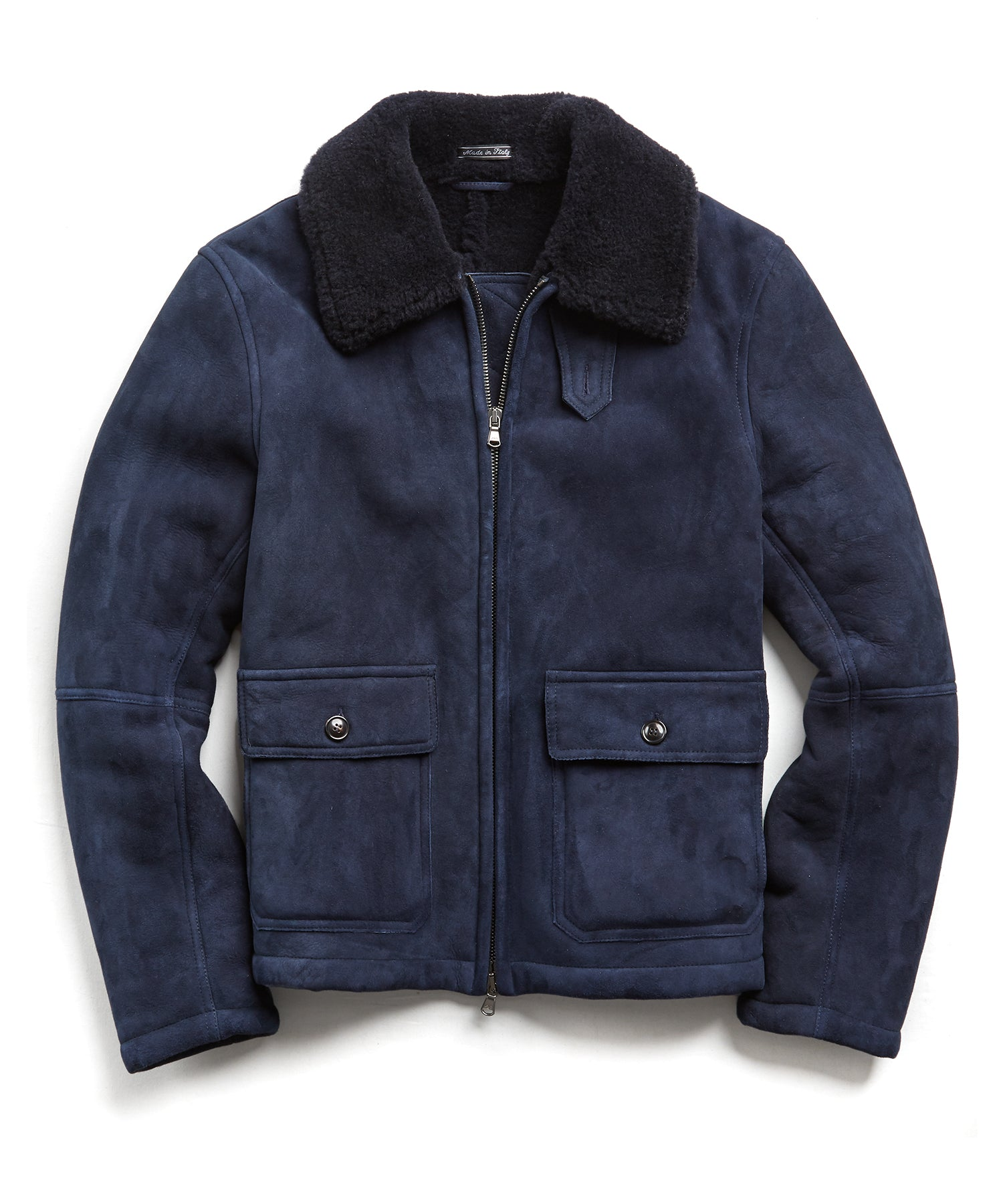Shearling Flight Jacket in Navy