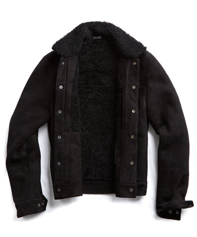 Dylan Shearling Suede Jacket in Black