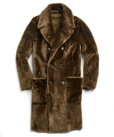 Shearling Double Breasted Topcoat in Olive