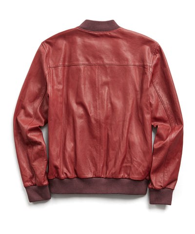Italian Leather bomber in Red