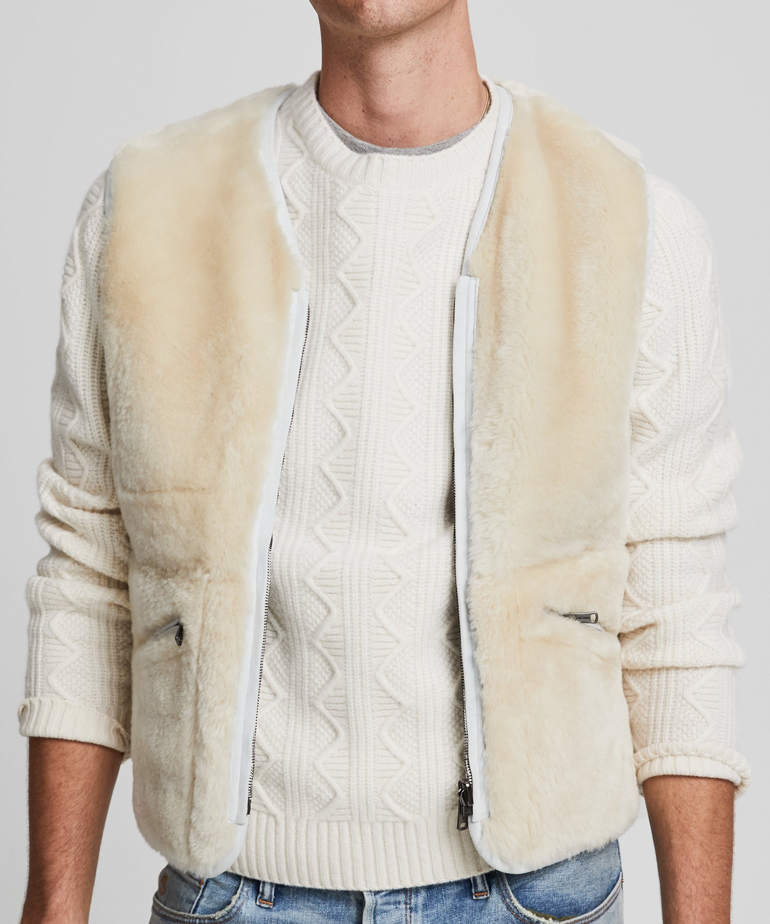 Italian Shearling Reversible Vest in White