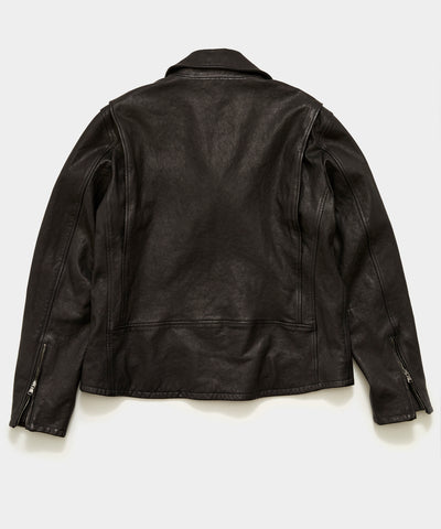 Italian Leather Moto Jacket in Black