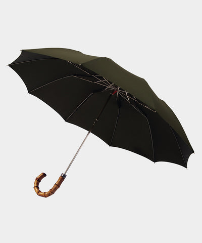 London Undercover Dark Olive Telescopic Foldable Umbrella with Wahngee Handle