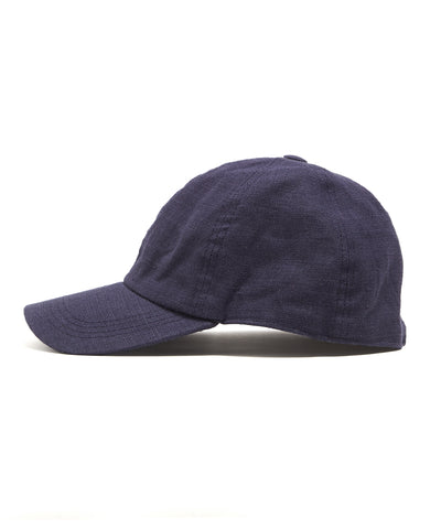Lock and Co Rimini Baseball Cap In Navy Linen
