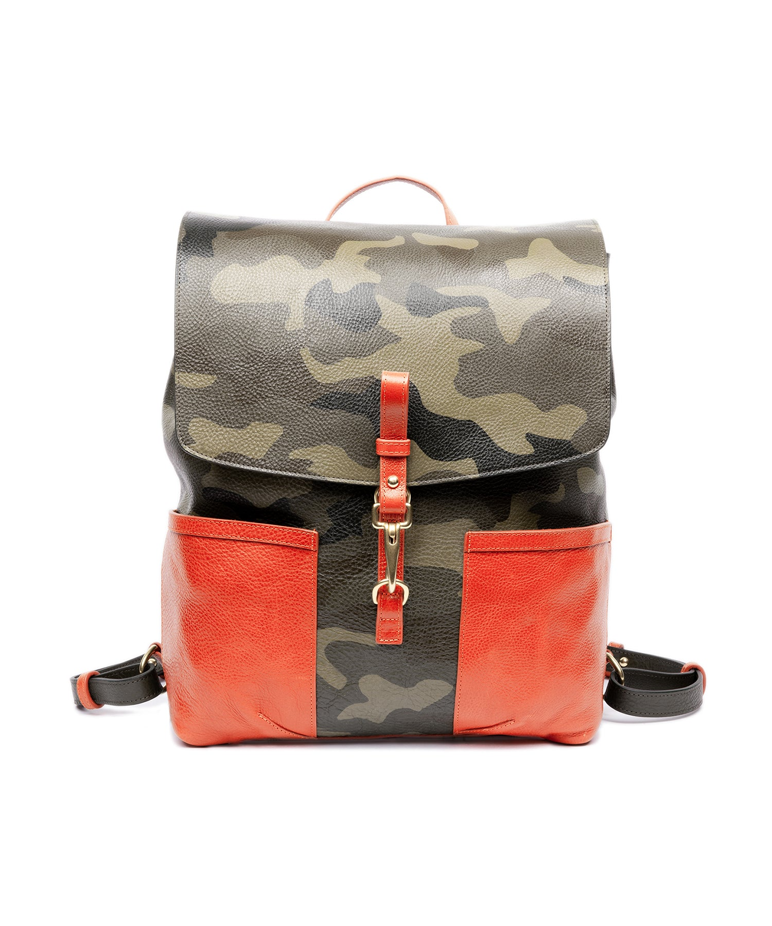 Lotuff Leather Hand Painted Leather Knapsack in Camo
