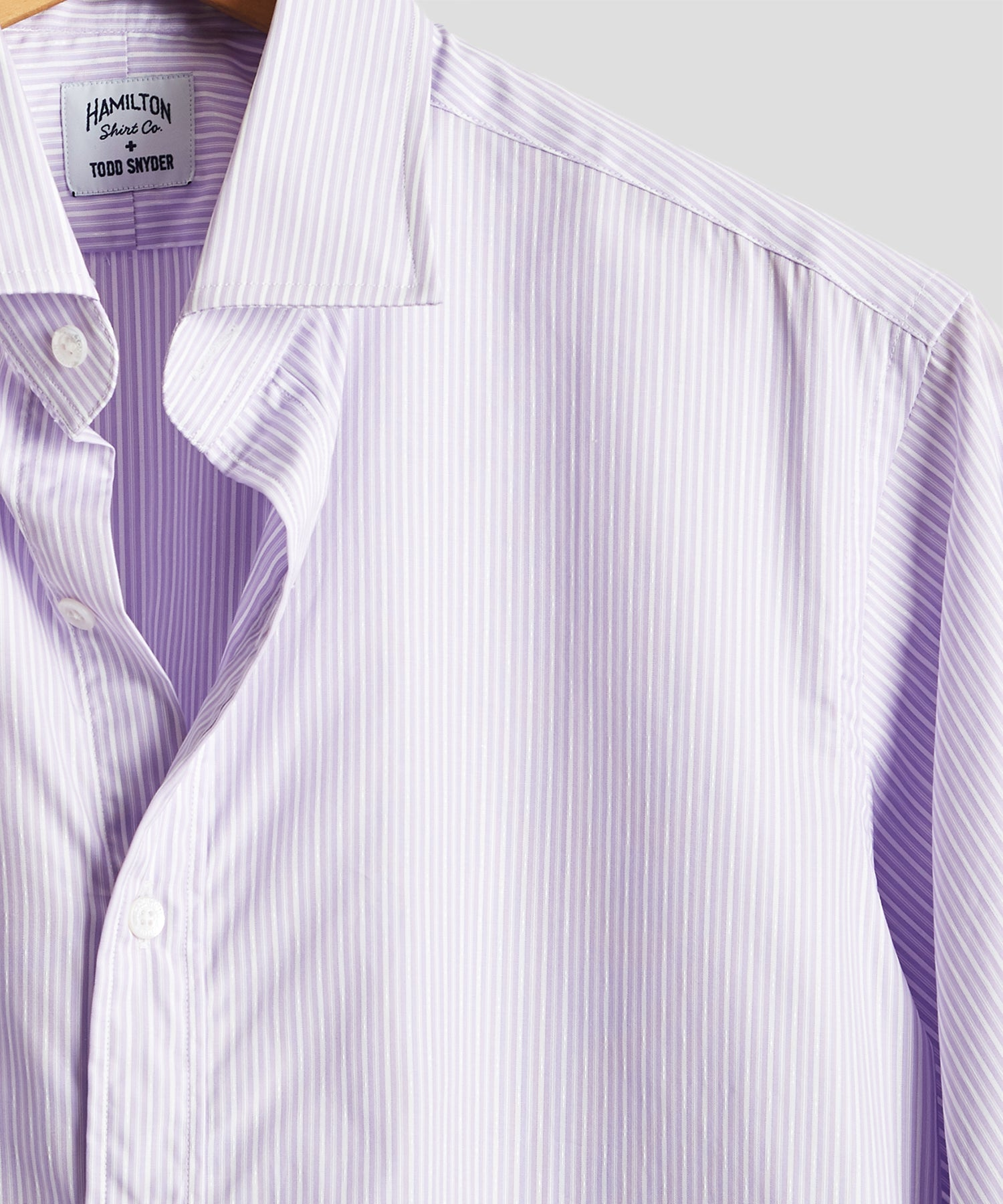 Made in USA Hamilton + Todd Snyder Lavender Stripe Dress Shirt