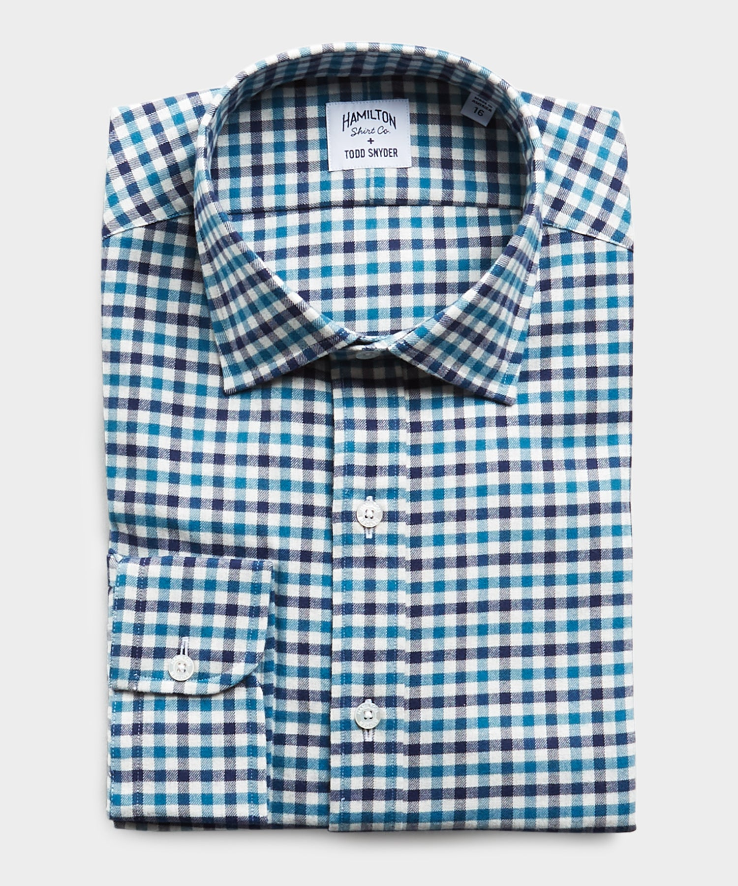 Made in USA Hamilton + Todd Snyder Brushed Twill Gingham Dress Shirt