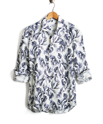 Maffeis Slim Fit Palm Print Spread Collar Linen Shirt