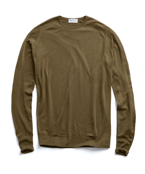 John Smedley Easy Fit Merino Crewneck Sweater in Olive