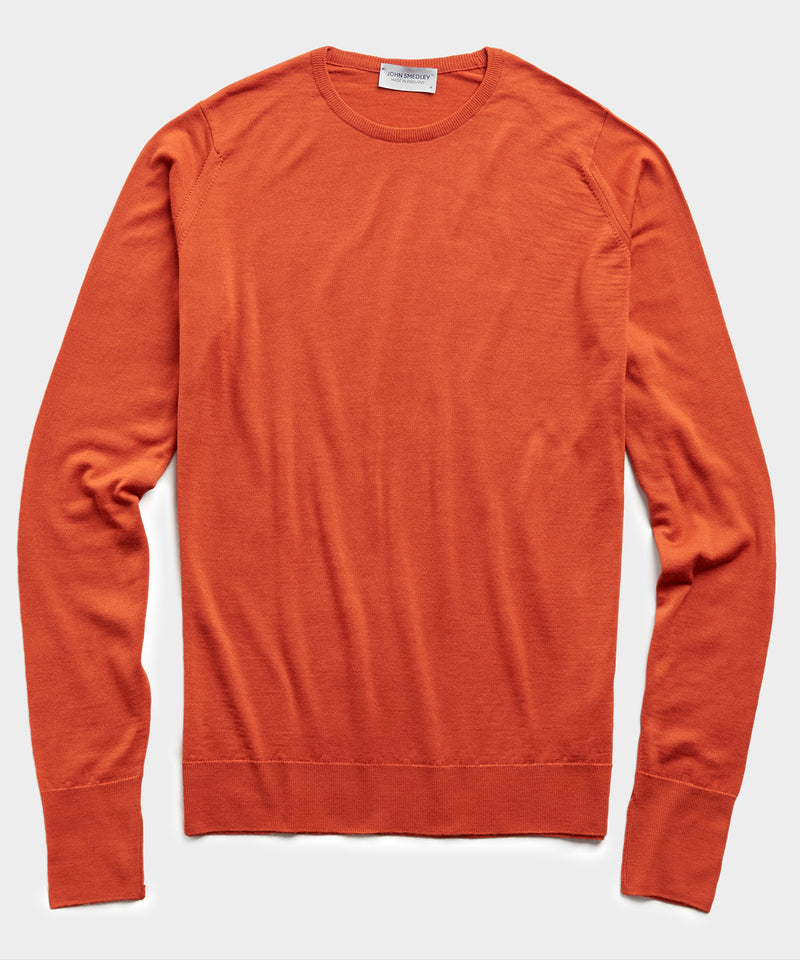 John Smedley Easy Fit Crewneck Merino Sweater in Orange