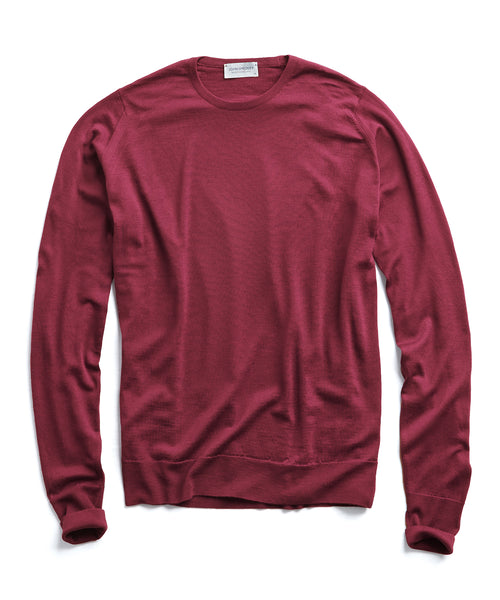 John Smedley Easy Fit Merino Crewneck Sweater in Wine