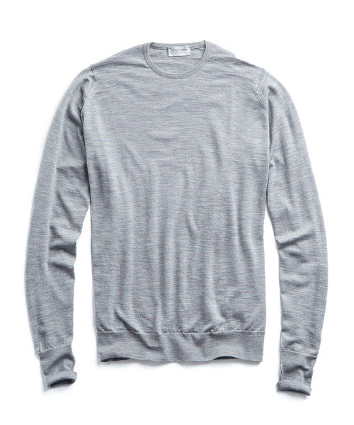 John Smedley Easy Fit Merino Crewneck Sweater in Silver
