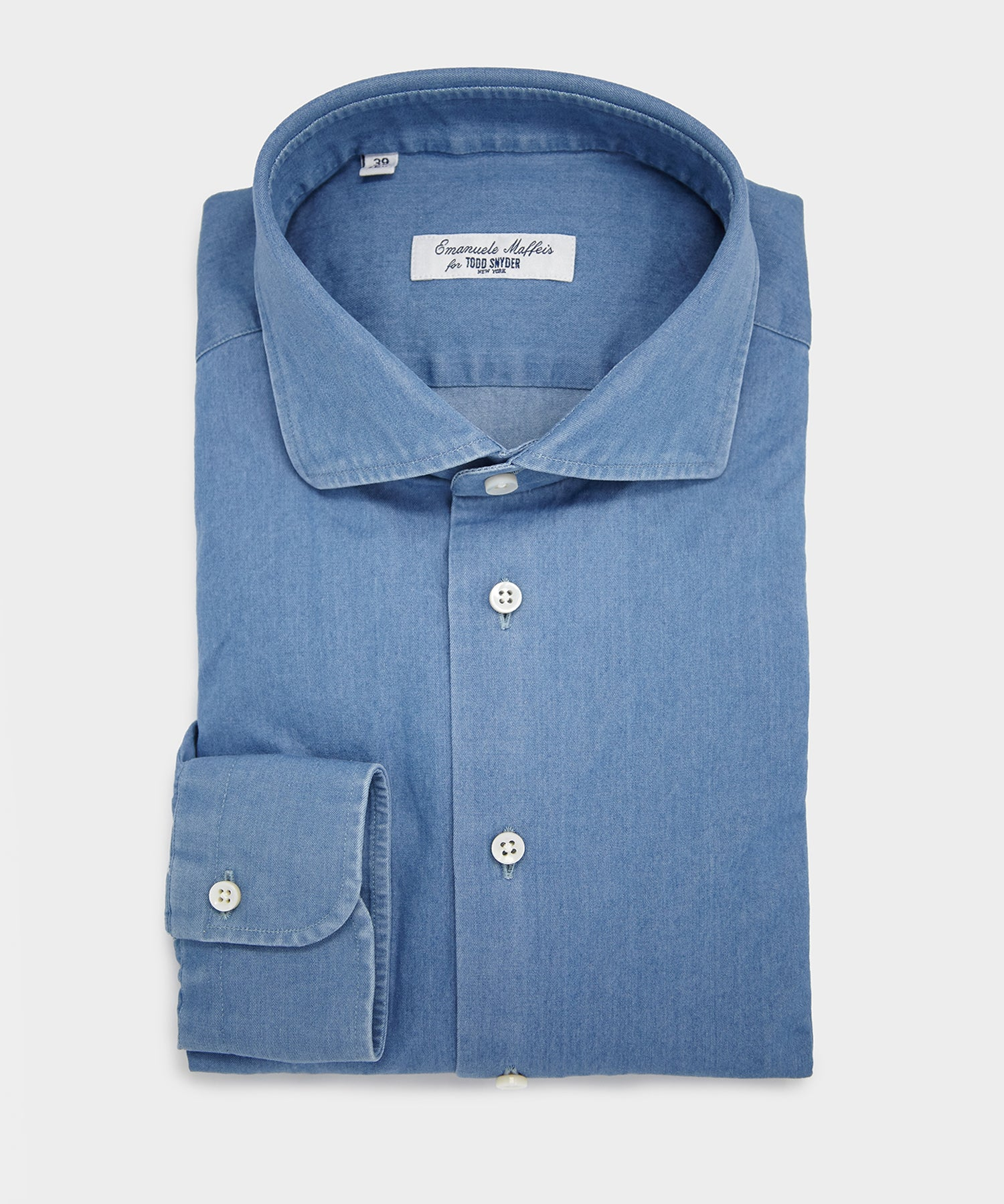Emanuele Maffeis + Todd Snyder Denim Spread Collar Shirt