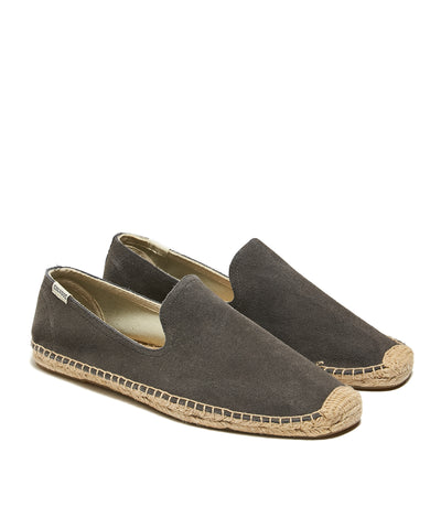 Soludos Suede Smoking Slipper in Dolphin Grey