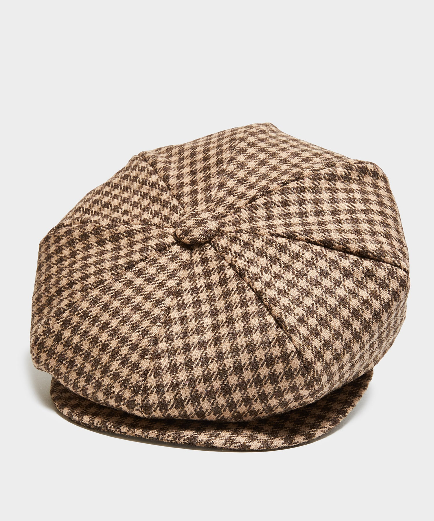 Lock & Co Muirfield Cap in Moon Brown Houndstooth