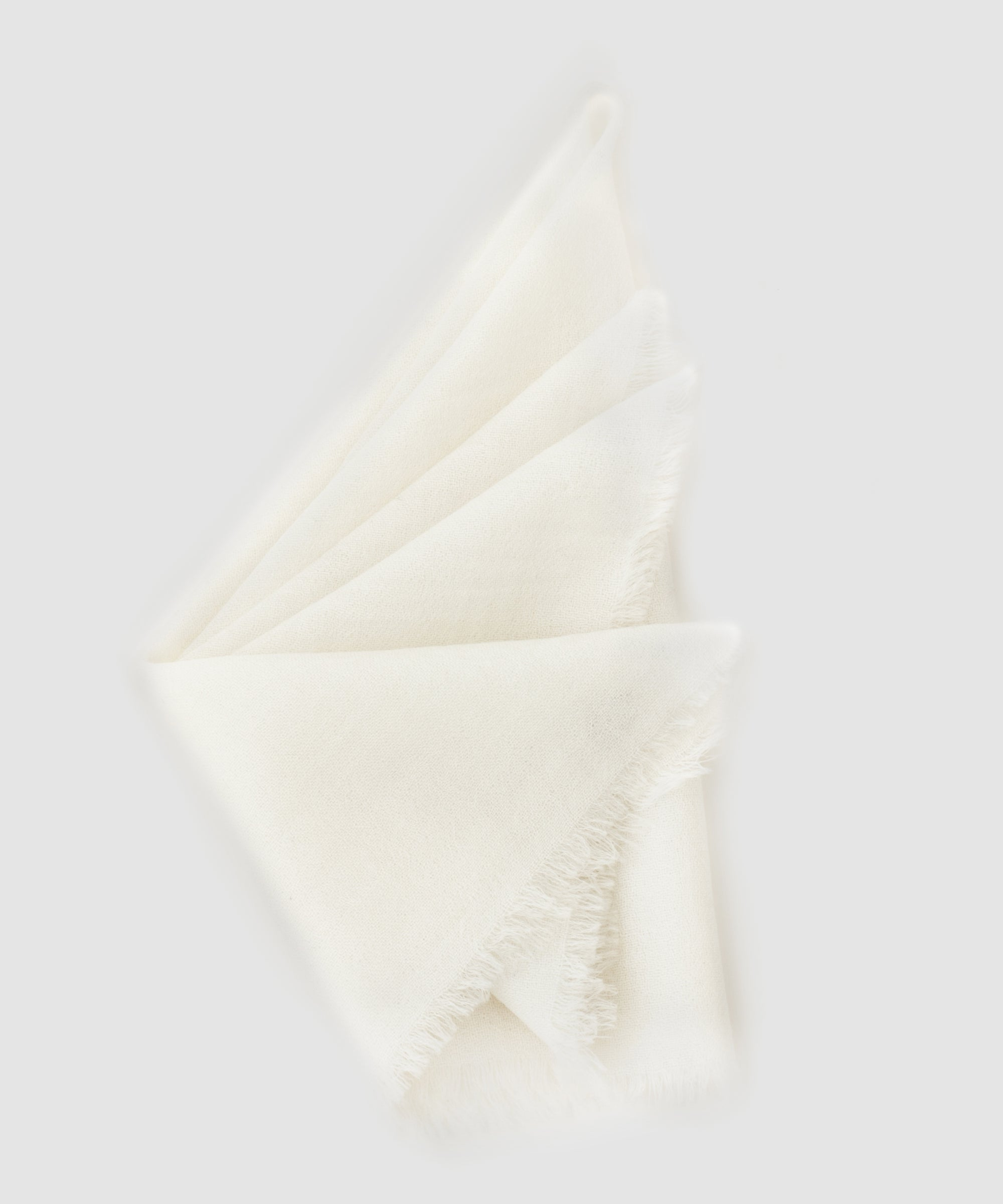 From The Road Marici Cashmere Pocket Square in Bone