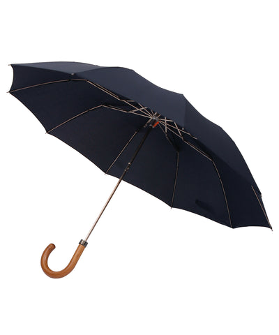 London Undercover Maple Crane Crook Handle Navy Telescopic Foldable Umbrella