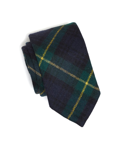 Abraham Moon Wool TARTAN TIE in NAVY