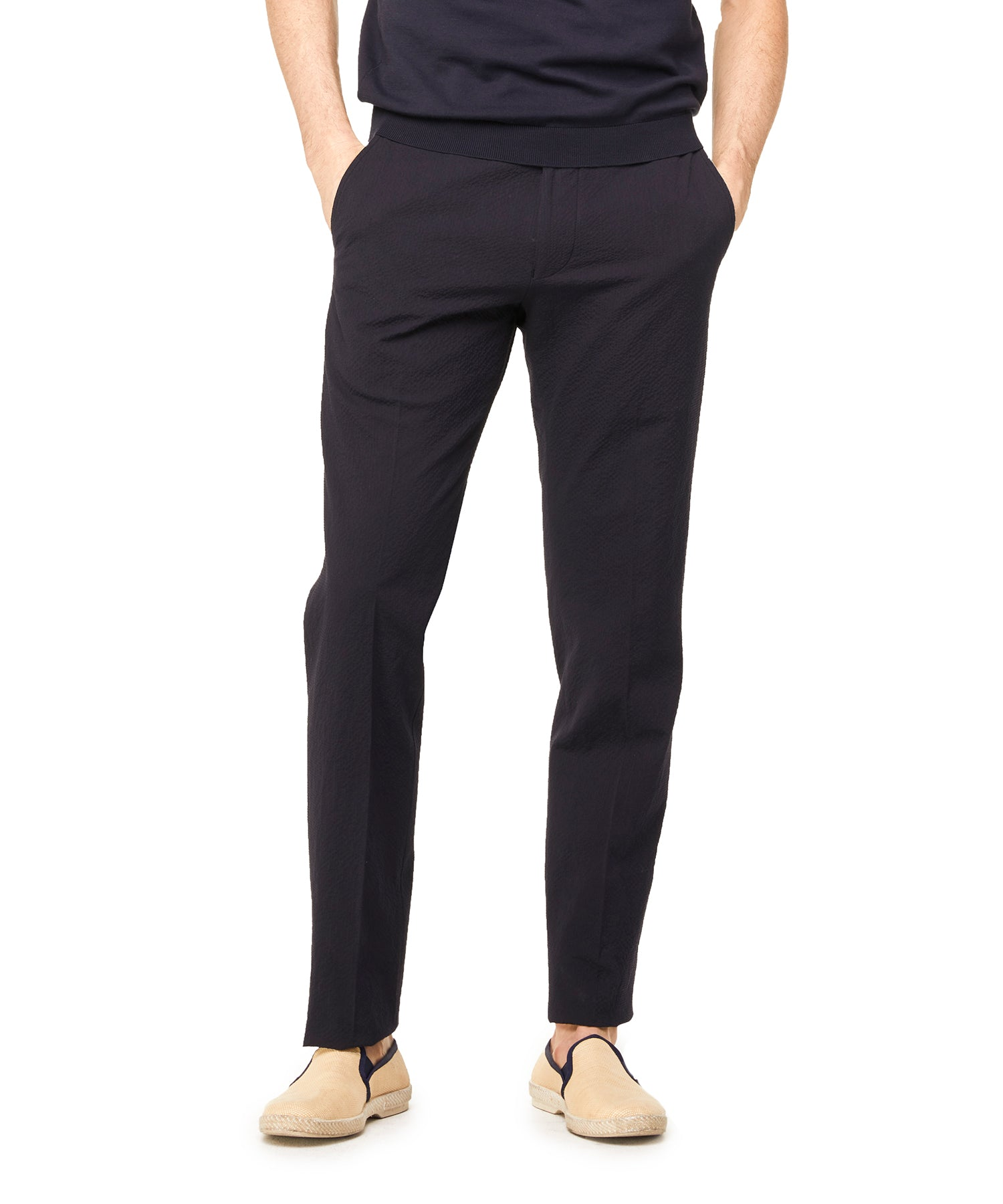 Seersucker Tab Trouser in Navy