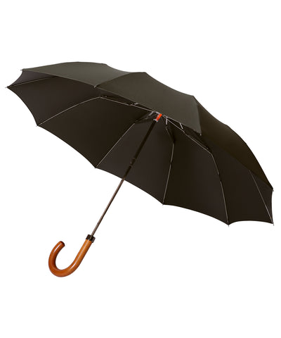 London Undercover Maple Cane Crook Handle Dark Olive Telescopic Foldable Umbrella
