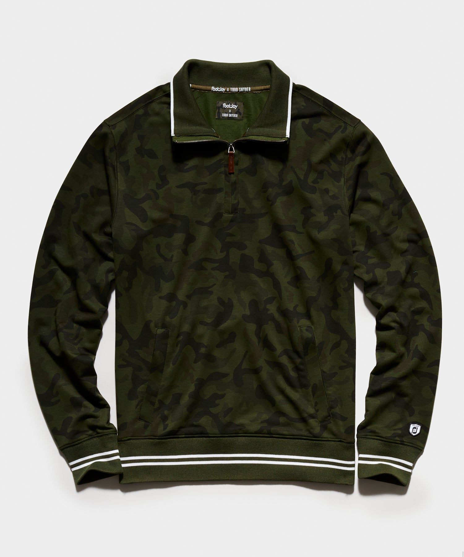 Footjoy x Todd Snyder 1/4 Zip Sweatshirt in Olive Camo