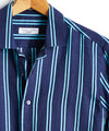 Maffeis Blue and Teal Stripe Spread Collar Linen Shirt