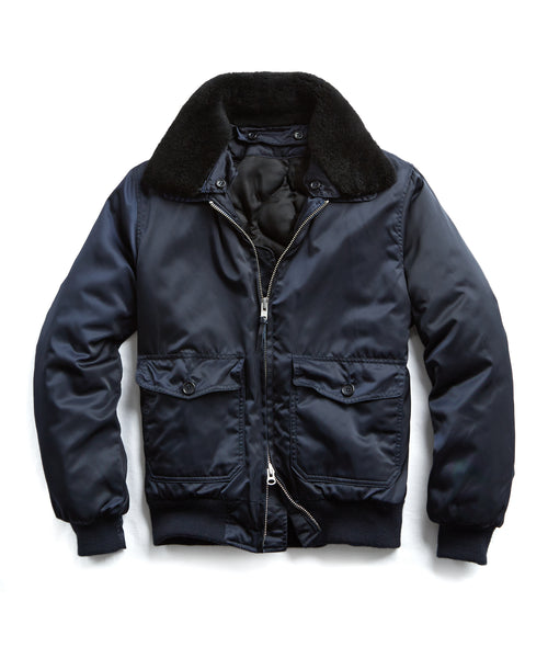 Golden Bear + Todd Snyder Exclusive Shearling Collar Bomber in Navy