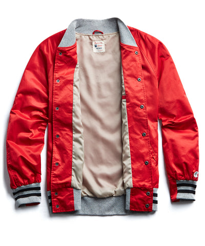 Champion Satin Graphic Bomber in Red
