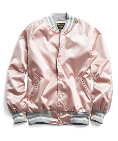 Todd Snyder + Golden Bear Japanese Nylon Snap Bomber in Pink