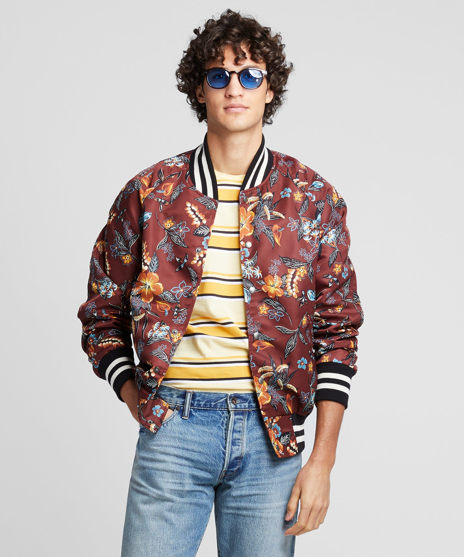 Floral Nylon Bomber in Burgundy