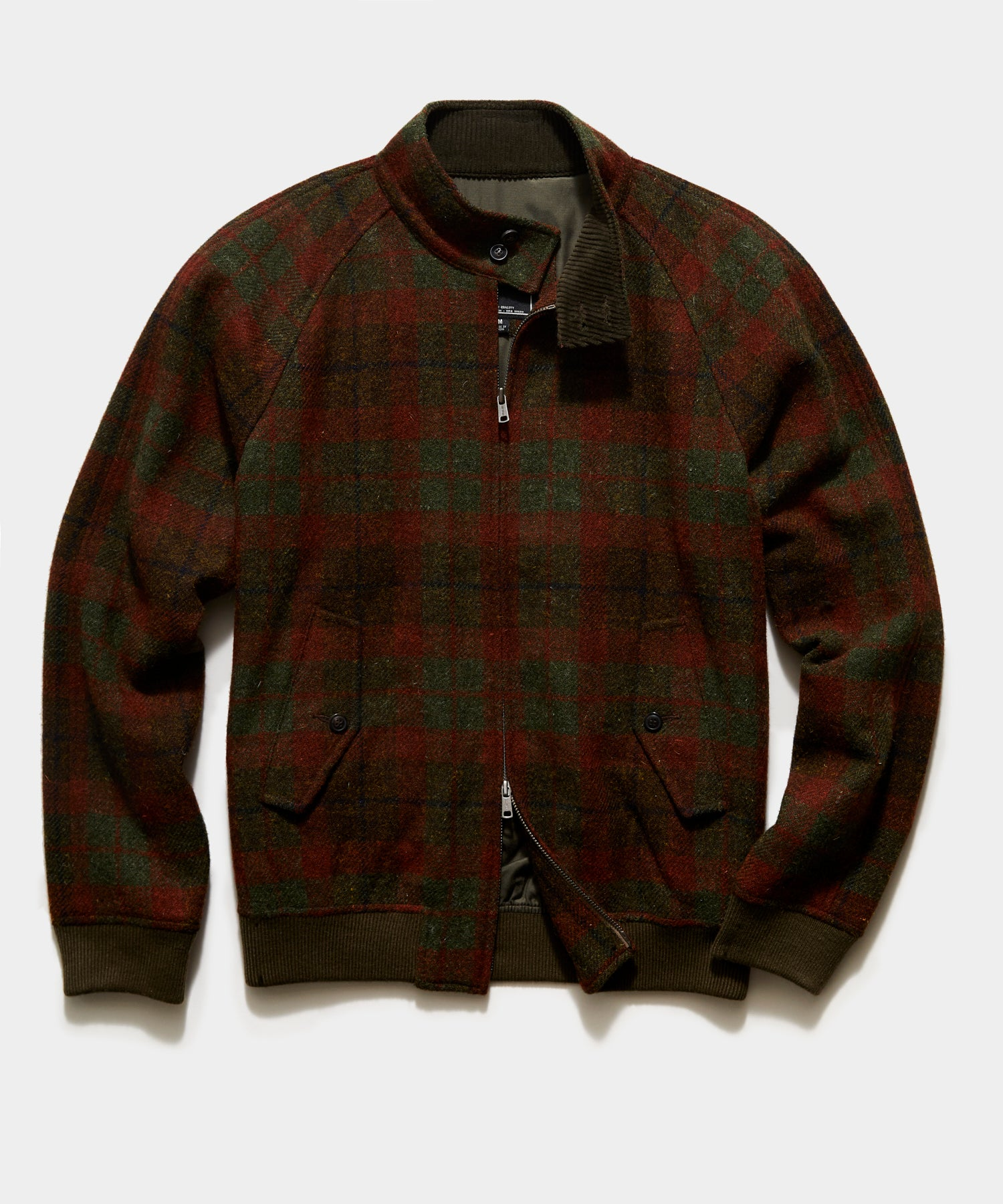 Harris Tweed Varsity Jacket in Olive