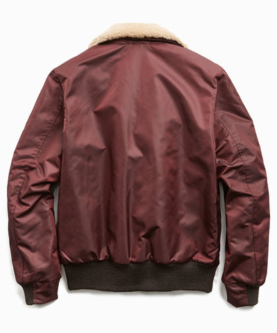 Exclusive Todd Snyder + Golden Bear Shearling Collar Bomber Jacket in Burgundy