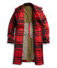 Plaid Officer Coat with removable Shearling Collar in Red Alternate Image