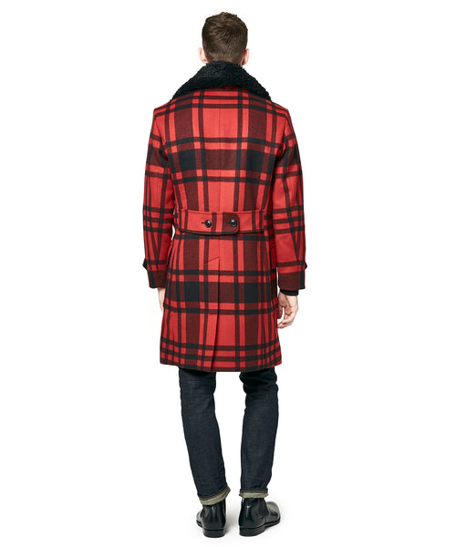 Plaid Officer Coat with removable Shearling Collar in Red